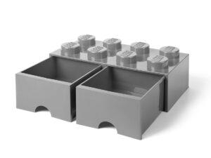 lego 5005720 steengrijze opslagsteen met 8 noppen en 2 lades