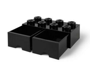lego 5006248 zwarte opslagsteen met 8 noppen en 2 lades